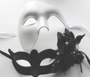 Black and Silver Swan Lake Masquerade Masks - His and Hers Masquerade Masks | Masks and Tiaras